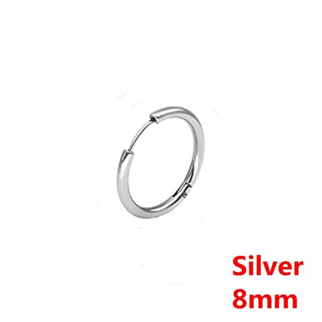 6175b43401eee Stainless Steel Men's Women's Tube Ear Studs Hoop Huggie Punk Earrings  Jewelry Silver 12mm