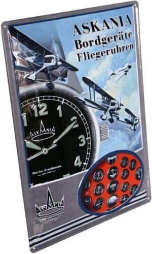 Askania Fliegeruhren geprägt Nostalgie Reklame Blechschild 30x40 Blech 3040M04