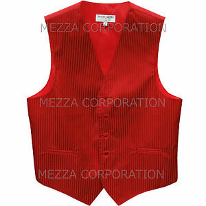 New Men's Tuxedo Vest Waistcoat Vertical Stripes only prom wedding party Red
