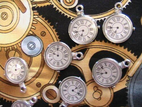 "Lot of 4 STEAMPUNK CLOCK CHARMS~Tibet bronze 1/"" jewelry~scrpbk~art~craft~dolls+"