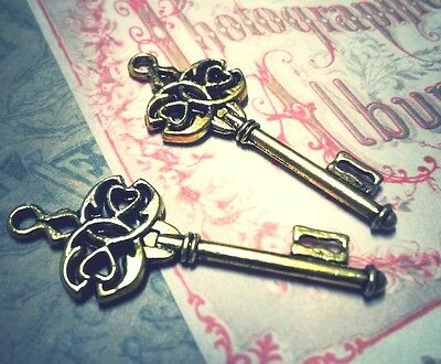 Skeleton Key Pendants Antiqued Gold Key Charms Steampunk Keys 10//25//50+