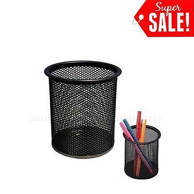 2pcs Desk Organizer Metal Black Mesh Design Pen Pencil Holder Container