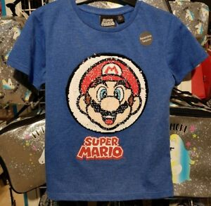 9e093d04f SUPER MARIO REVERSIBLE SEQUIN T shirt boys Girls 6-7 Years BNWT blue ...