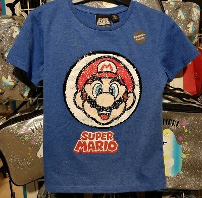 Super Mario Reversible Sequin T Shirt Boys Girls 6-7 Years Bnwt Blue Boys' Clothing (2-16 Years) T-shirts & Tops