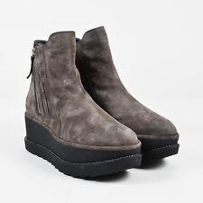 "Stuart Weitzman NIB Gray & Black Suede Platform Wedge ""Gorbach"" Ankle Boots SZ 8"