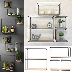 Set-of-4-Retro-Metal-Wall-Shelf-Industrial-Style-Shelves-Storage-Display-Unit-UK