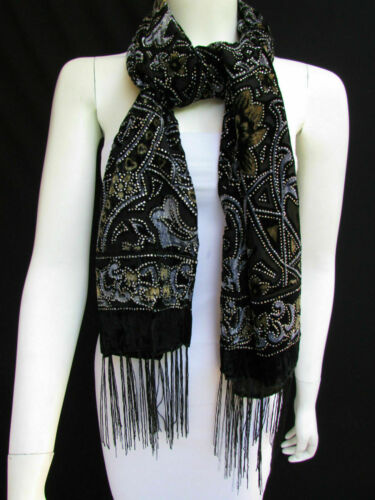Women Long Black Fashion Fabric Neck Scarf Multi Colors Leaves Gold Faux Velvet