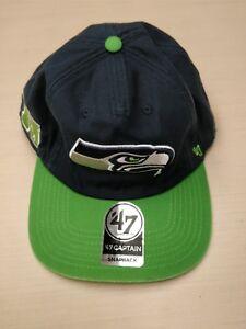 ae83e13eaa0 SEATTLE SEAHAWKS NFL  47 Brand Snapback Vintage Cap Dad Hat Navy ...