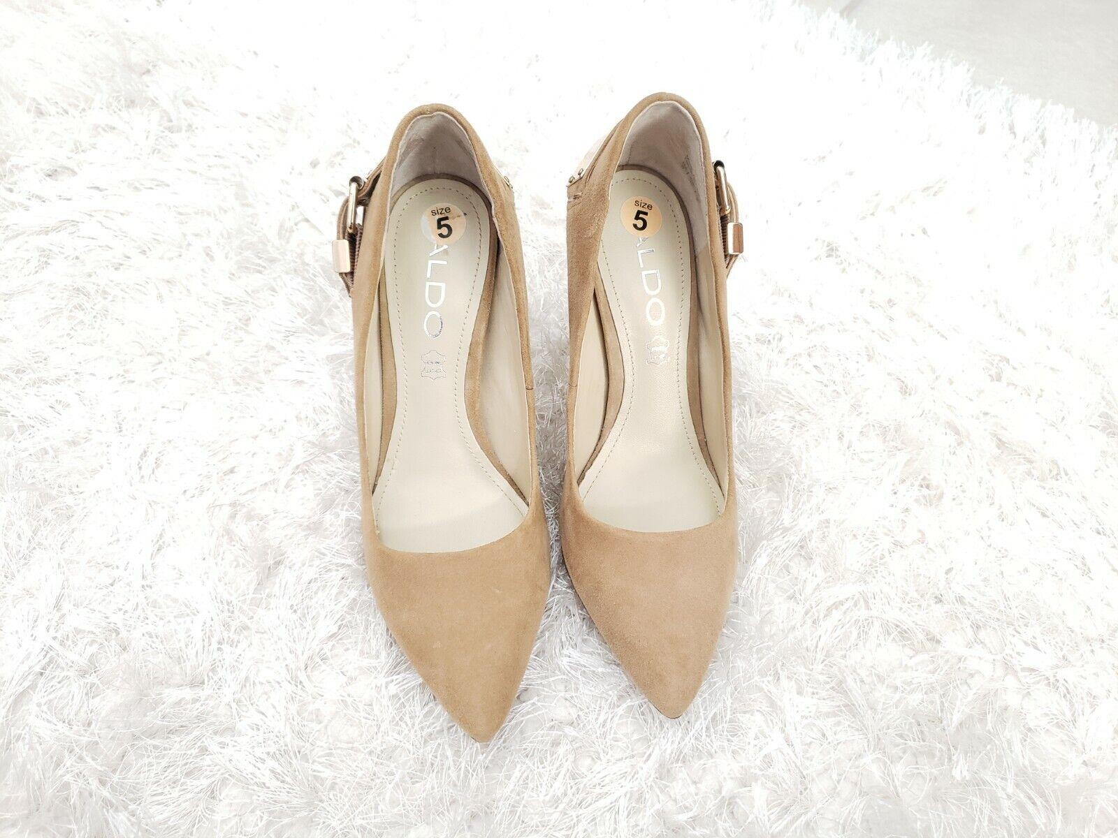🌺ALDO Beige/Nude Suede Pointy Toe SlipOn Classic High Heels Gold Buckle Pumps 5