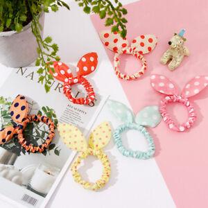 Women-Girls-Hair-Rope-Band-Rabbit-Ear-Dot-Elastic-Scrunchie-Clip-Ponytail-Holder