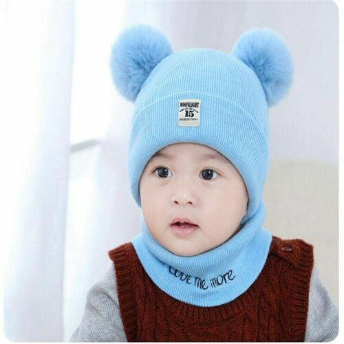 Hat And Scarf Set For Baby Winter Warm Beanie Skullies With Fur Balls Design Cap