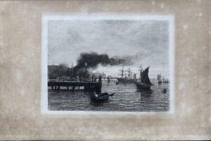 Richard Hermann Eschke 1859-1944 Porto con navi AQUATINTA ACQUAFORTE FIRMATA