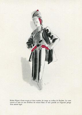 """""""robert Piguet"""" Annonce Originale Entoilée Formes & Couleurs delfau 1943"""