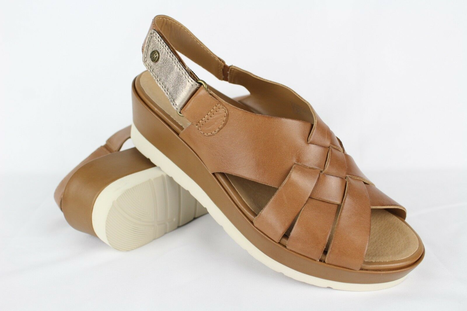 Earth Women's Sunflower Woven Leather Sandals Size 7.5B Sand Brown