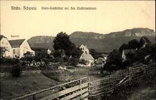 Klein Gießhübel Sachsen Postkarte ~1910/20 Teilansicht mit den Zschirnsteinen