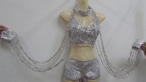 Da NeeNa M088CC Salsa Latin Cowboy Dance Beaded Sequin Wristbands Choker