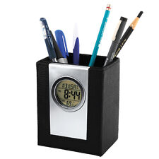 Exclusive Leather Clock Pen Holder Stand w/ Digital Alarm LCD Display - P06