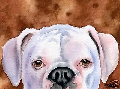 WHITE BOXER DJR DOG PAINTING PRINT POSTER WALL ART LIVING ROOM HOME DECOR RETRO