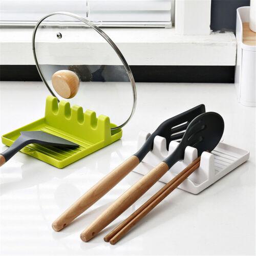 Kitchen Spoon Holders Fork Spatula Rack Shelf Organizer Plastic Spoon Rest Rack
