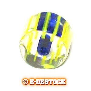 10 Perles Cylindre Tube court verre pop vert ligné bleu 6x10mm