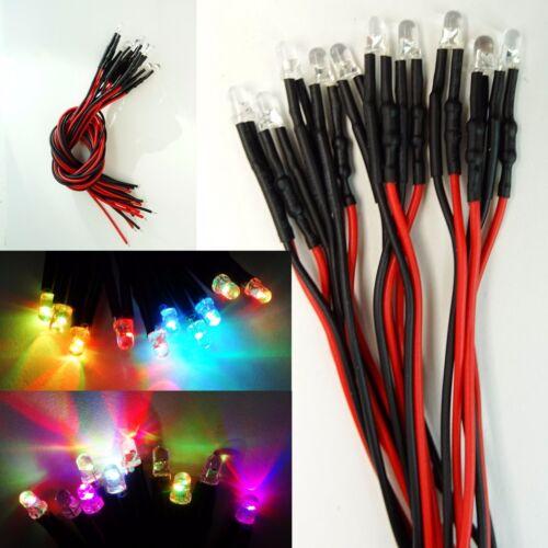 10 Stück LED 3mm RGB Rainbow Schnelles Blinken 9-12V fertig Verkabelt  C3024