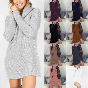 Damen-Winter-Langarm-Rollkragen-Pullover-Pulli-Strickkleid-Minikleid-Longshirt