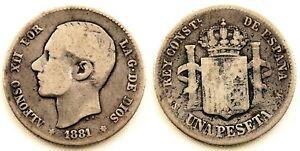 Spain-Alfonso-XII-1-Peseta-1881-Madrid-Plata-5-g-ESCASA