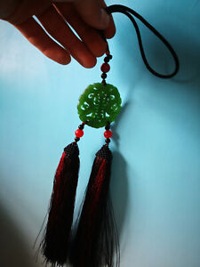 Chinese Hand-made natural jade pendant fringed fan pendant Hanfu accessories