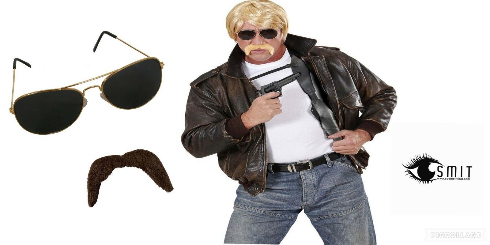 FBI 50s Black Glasses Shades Police Cop MIB CIA Fancy Dress Accessory