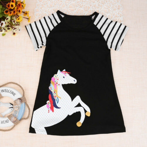 Fashion Toddler Kids Baby Girls Spring Horse  Stripe Print Party Dress Outfits