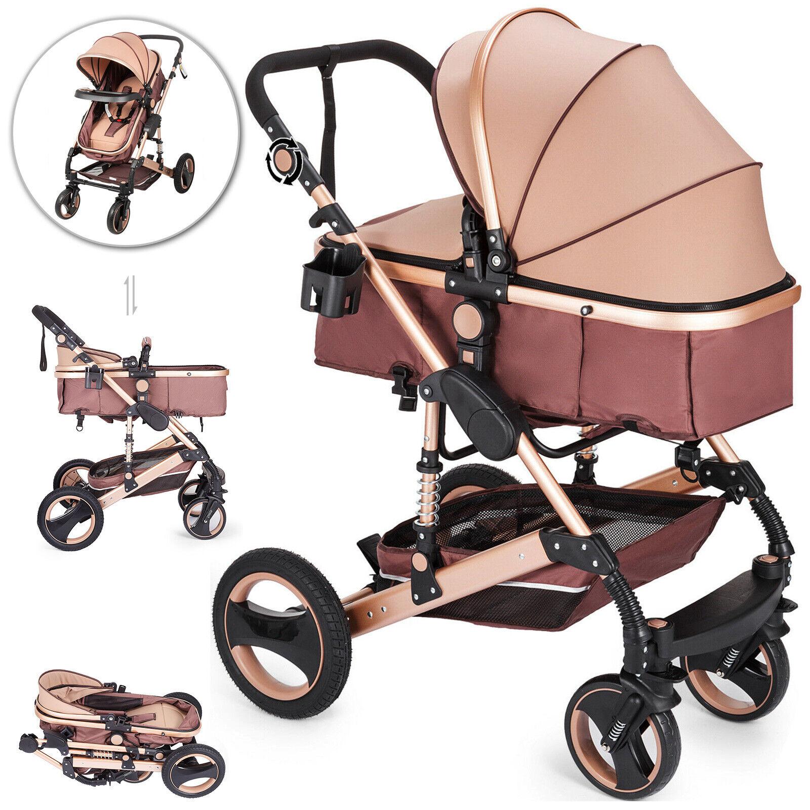 2 en 1 Cochecito de Bebé Plegable Carro de Paseo para Bebé...