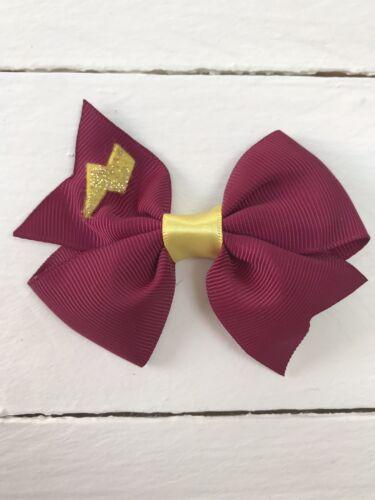 Hermione Granger Style Burgundy Ribbon Bow Clip Harry Potter Lightening Bolt