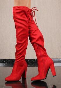 Damen-Overknee-Stiefel-aus-Velours-mit-Schnuerung-Rot-BM59