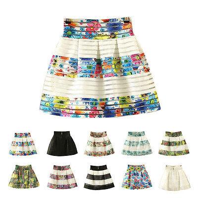 Sexy Womens High Waisted Tutu Skirts Striped Zipper Pleated Midi Elastic Skirt