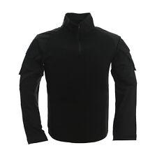 Black -XL Tactical Military Combat Shirt Zip Pullover Heat Resistant Long Sleeve
