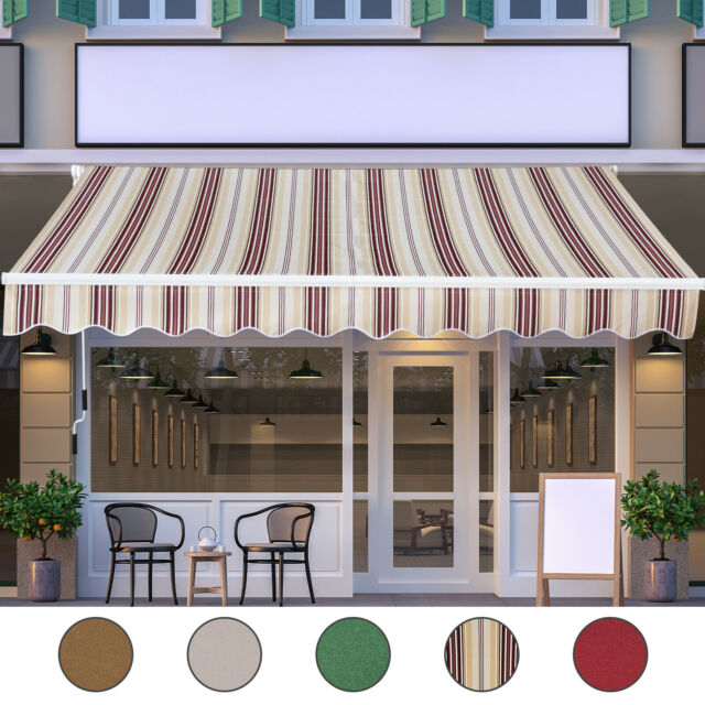 Outsunny 13'x8' Manual Retractable Patio Awning Water-Resistant ...