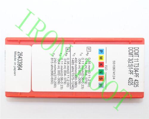 1-PF 4325  NEW Carbide Inserts 2.5 Sandvik 10Pcs DCMT11T304-PF DCMT3