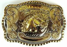 NEW HORSE HEAD GOLD SILVER HUGE RODEO BIG COWBOY WESTERN SHINE BELT BUCKLE