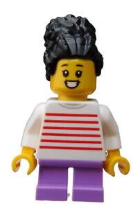 Lego-Maedchen-schwarze-Haare-Shirt-mit-Streifen-Minifigur-Figur-cty1019-Kind-Neu