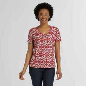 Jaclyn Smith Women S Textured T Shirt Tribal Print Short