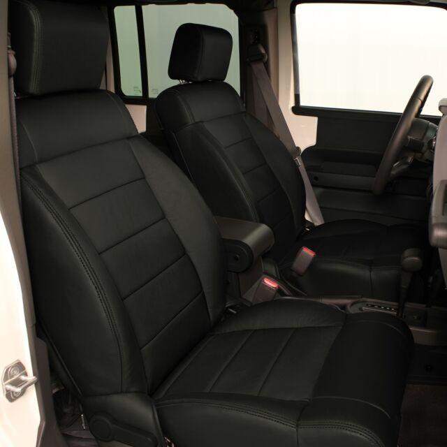 Jeep Wrangler Seat Covers >> Katzkin Ebony Black Leather Seat Covers 2008 2009 2010 Jeep Wrangler 4 Door