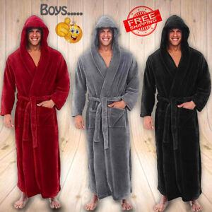 Luxury-Long-Bath-Robe-Dressing-Gown-Hooded-Winter-Bathrobe-Mens-Womens-Fluffy