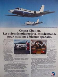 6-1985-PUB-CESSNA-CITATION-SPECIAL-AIR-MISSION-US-CUSTOMS-AMBULANCE-FRENCH-AD