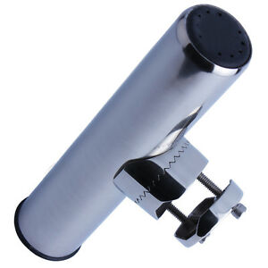 """Boat Fishing Rod Holder Clamp-on fit 7/8"""" to 1"""" Rail Mount 316 Stainless Steel"""