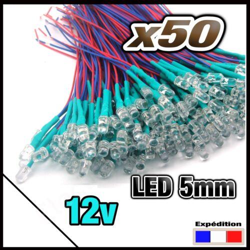 white pre wired LED 466//50# 50pcs LED 5mm 12v pré-câblé Blanche