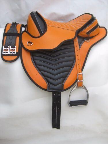 Synthetic treeless saddle Orange//black stirups leather matching Girth