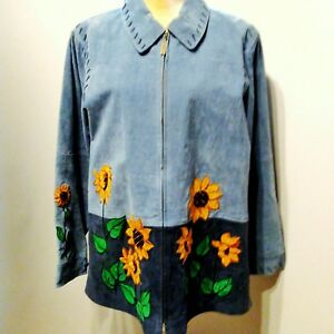 Details about The Quacker Factory 100% Leather Suede Sunflower Zippered  Jacket Size Large