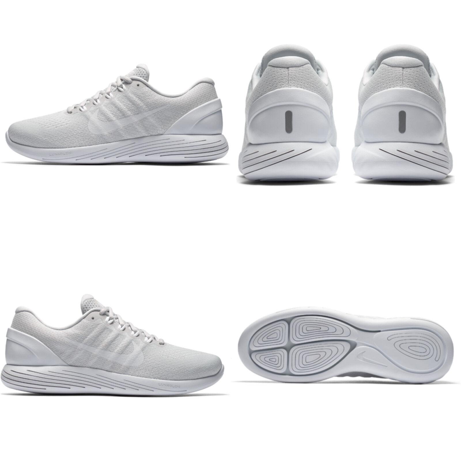 5193a224866d Nike Lunarglide 9 Mens 904715-003 Platinum White Knit Running Shoes ...