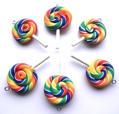 INCLUDES FAST FREE SHIPPING 10 GORGEOUS LOLLIPOP CHARMS POLYMER CLAY FIMO