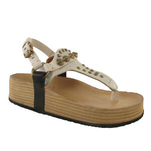 s Sandales lacets à 98 A compensées Sandal Leather New Shoes Toe Women's ZwAx6